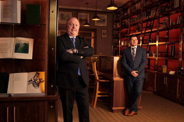 WorkSpace Head, Richard Cheevers with Head of Business Development, Richard Carron inside the Seamus Heaney Homeplace Visitor Centre, Bellaghy, where WorkSpace has completed an interior fit-out project