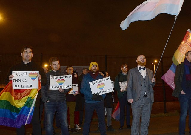 LGBT campaigners picket a film screening at Townsend Presbyterian Church in Belfast in 2019 in which Matthew Grech told of his conversion to Christianity and leaving his LGBT identity. Picture By: Arthur Allison.