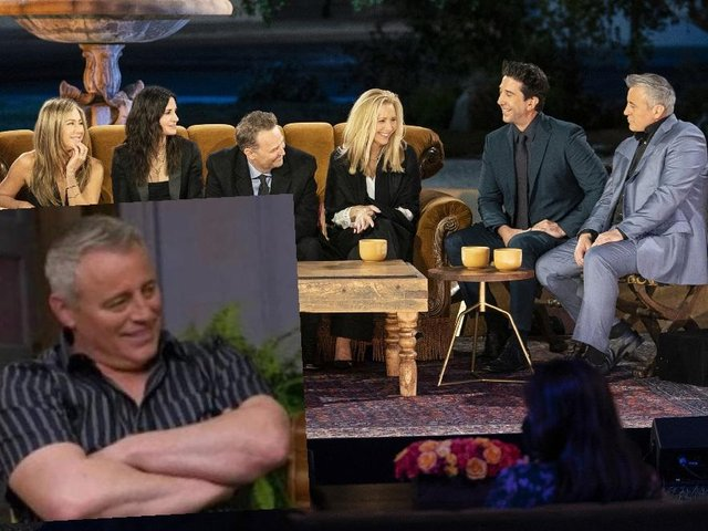 The cast of Friends pictured during the reunion special; inset: the image of Matt LeBlanc used by thousands online.