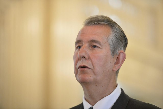 Edwin Poots at Stormont on Tuesday where he denied a delay in naming the new DUP ministerial team was caused by rows within the party