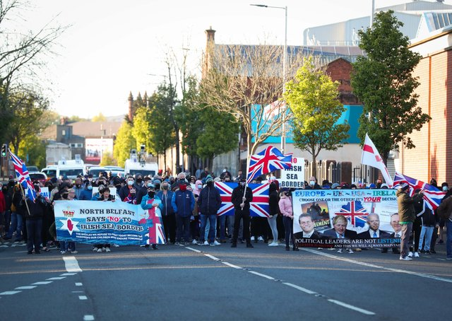 Loyalists take part in a peaceful protest in the Shore Road area of North Belfast. Photo by Kelvin Boyes / Press Eye
