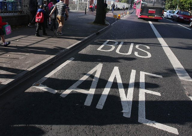 Only buses and public-hire taxis are allowed to use Belfast's bus lanes at present