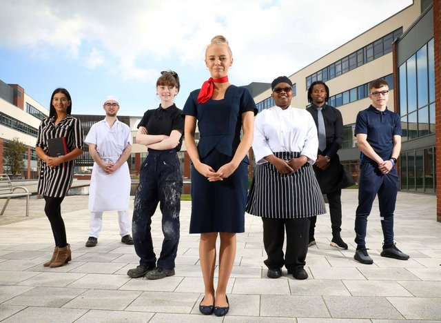 Former Business Management student, Aimee McWilliams, Catering student, Adam Aston, Plumbing apprentice, Shannon Neilly, Aviation student, Laura Rutherford, Catering students, Juvaldino Baretto and Adenike Yisa lawal and Boxing Academy student, Jack Haighton