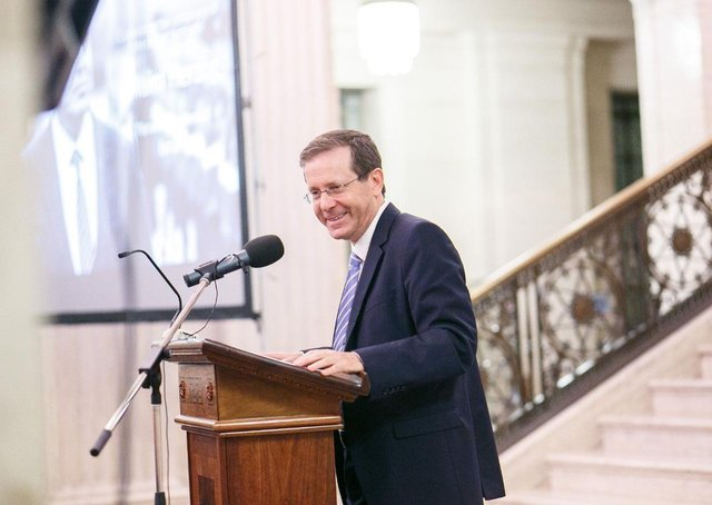Isaac Herzog, son of Belfast man and former Israeli President Chaim Herzog, visited the city of his father's birth in 2018. Seen here is giving an address at Stormont.