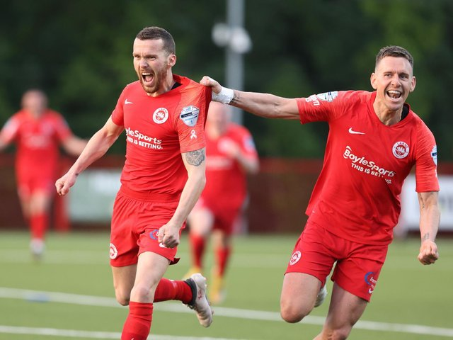 Marty Donnelly celebrates his winner for Larne