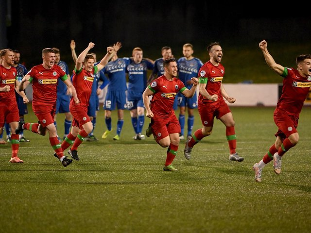 Cliftonville celebrate after reaching the European Play-off final