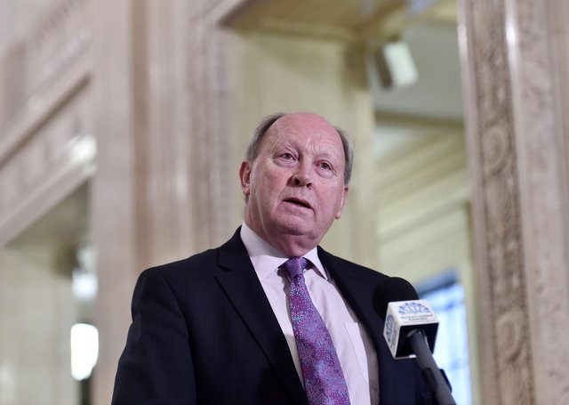 Jim Allister QC MLA, who leads Traditional Unionist Voice, speaks to the media in the Great Hall at Parliament Buildings, Stormont, on January 6 last year, as talks continued to restore devolution three years after it was collapsed by Sinn Fein in 2017. Mr Allister was one of the few politicians to oppose the New Decade New Approach deal, signed days later. Picture by Jonathan Porter/PressEye