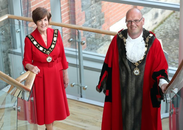 Outgoing Mayor Cllr Jim Montgomery and Deputy Mayor Cllr Noreen McClelland