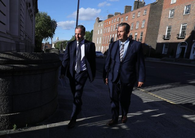 DUP leader Edwin Poots, right, with MLA Paul Givan, arriving at Government Buildings, Dublin, ahead of his meeting with Taoiseach Micheal Martin. They made clear they are not boycotting North South meetings. Photo: Brian Lawless/PA Wire