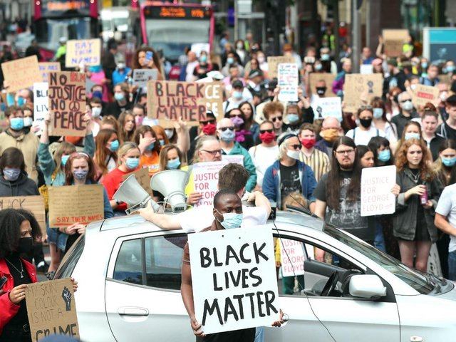 Thousands of people took part in a Black Lives Matter rally in Belfast city centre on June 2, 2020 in protest about the police killing of George Floyd in Minneapolis, USA.