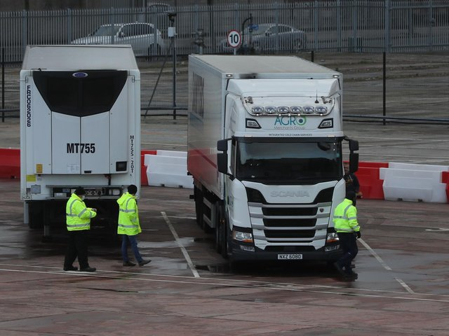 Lorries in the Department of Agriculture, Environment and Rural Affairs (DAERA) site in Duncrue Street, near Belfast port.