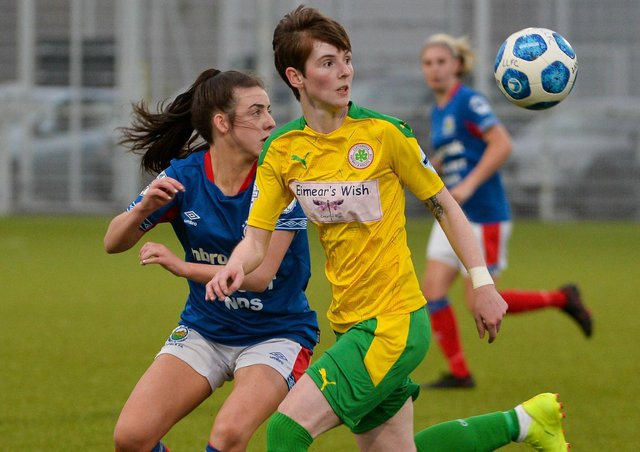 Cliftonville's Kirsty McGuinness was among the goalscorers against Linfield.