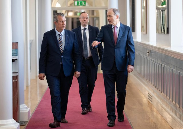 Taoiseach Micheal Martin (right) meeting with DUP Leader Edwin Poots (left) and DUP MLA Paul Given at Government Buildings, Dublin. Julien Behal Photography