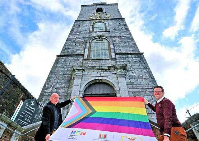 The Reverend Paul Robinson and political activist Stephen Spillane at Saint Anne's Church, Cork; this picture accompanied the Church of Ireland's social media accounts about LGBTI+ Awareness Week
