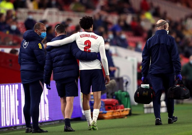 England's Trent Alexander-Arnold leaves the pitch after picking up an injury during the International Friendly match at The Riverside Stadium, Middlesbrough.
