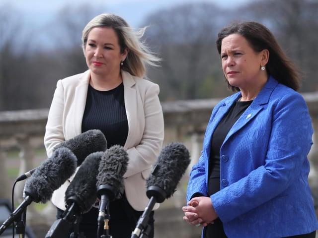 Sinn Fein vice-president, Michelle O'Neill (left) and Sinn Fein President, Mary-Lou McDonald.