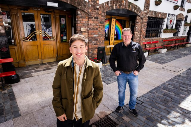 Pictured is Hollywood actor Barry Keoghan and Paul O'Hare, General Manager & Director at the Duke of York at the Guinness Raising the Bar 'Every Moment Counts' filming in The Duke of York pub, Belfast