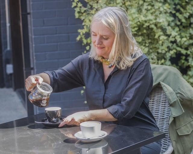 Tricia McNeilly of Otzibrew in Belfast enjoys a cup of award-winning Organic Chicory and Cordyceps Coffee Alternative