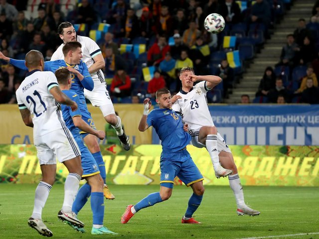 Northern Ireland's Ciaron Brown goes close with a header in the second half