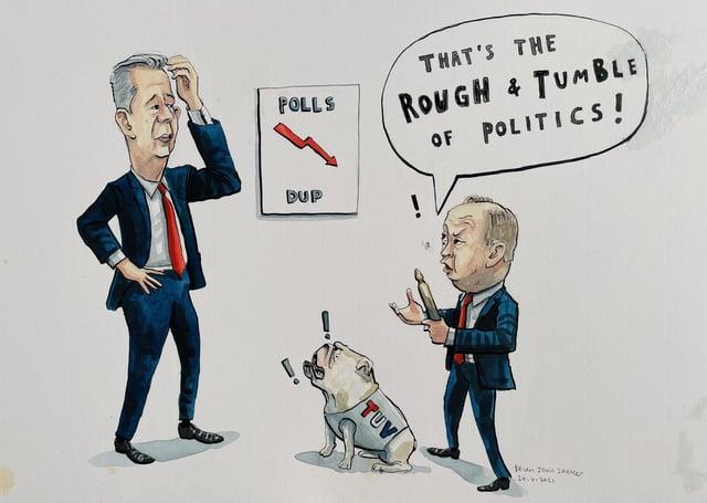 Artist Brian John Spencer's take on Edwin Poots's headache
