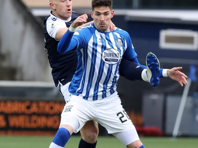 Kyle Lafferty in action for Kilmarnock during the Scottish Premiership Play-Off Final which they lost to Dundee