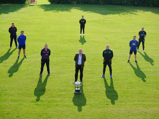 Gary Wilson (second row, left) pictured with representatives of the other clubs and David Robinson (Managing Director of Robinson Services) ahead of the new Robinson Services Premier League campaign, which gets underway next Saturday (12th June)
