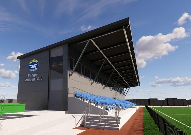 An impression of the 450-seat grandstand at the Bangor Fuels Arena.