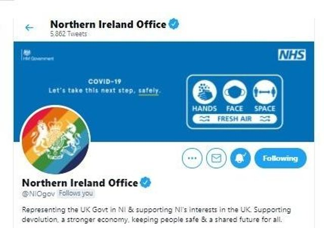 The logo of the Northern Ireland Office, Brandon Lewis' department, liveried in Pride colours
