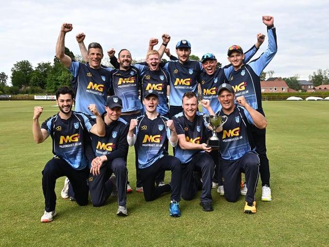Carrickfergus celebrate their LVS Twenty20 Cup final win over CSNI