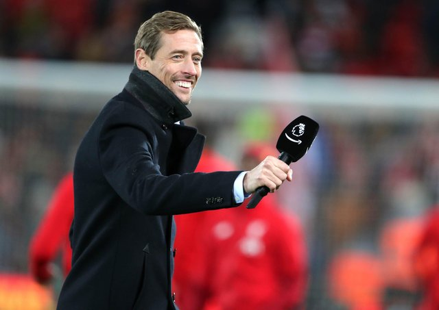 Former player Peter Crouch before the Premier League match at Anfield, Liverpool.