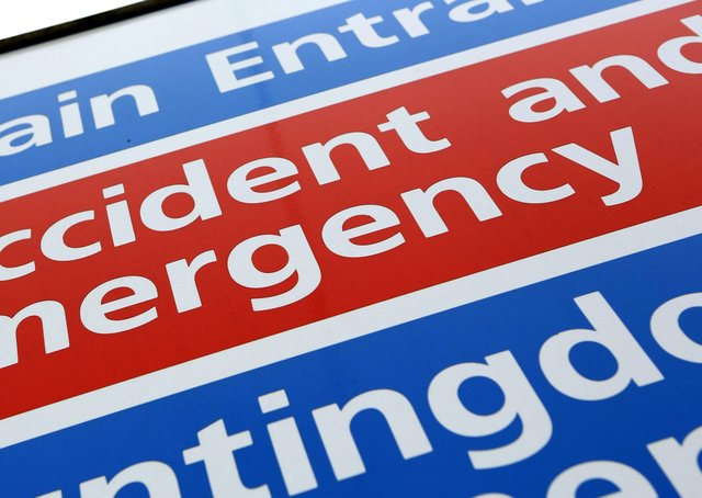 A sign for an Accident and Emergency department at an NHS hospital