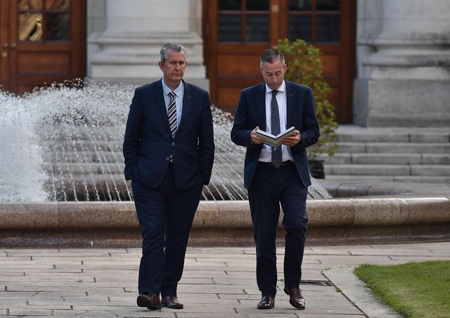 Edwin Poots in Dublin on Friday with Paul Givan, the man who is expected to be appointed first minister within days. Photo: Charles McQuillan/Getty
