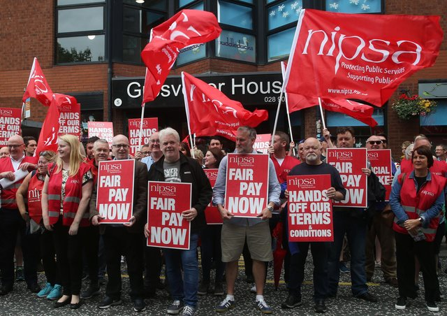 A Nipsa industrial dispute protest in 2019.  Picture: Colm Lenaghan/Pacemaker