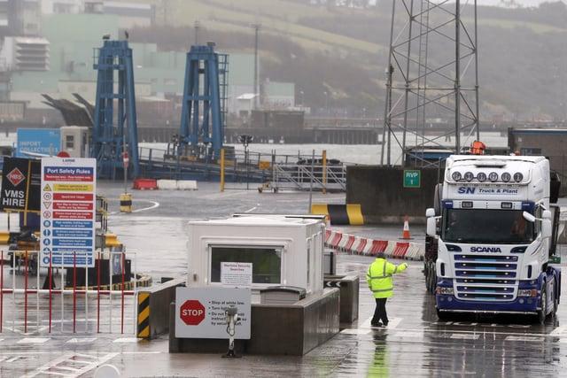 Trucks leaving Larne Port.