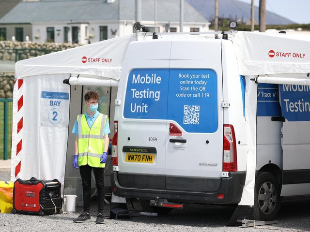 A mobile testing unit in Kilkeel on Monday.
