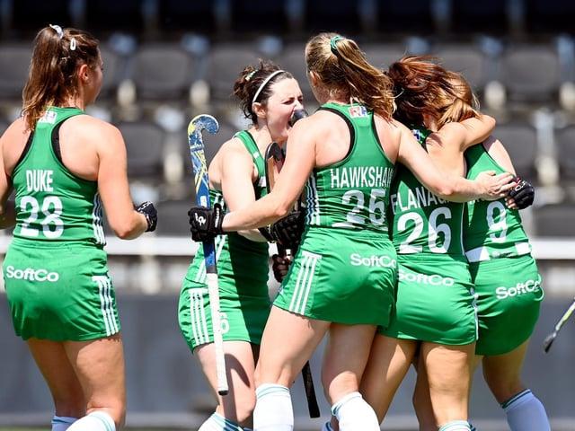 Naomi Carroll celebrates with her team-mates