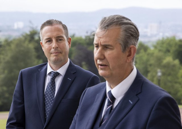 Edwin Poots pictured with his new First Minister, Paul Givan, at Stormont