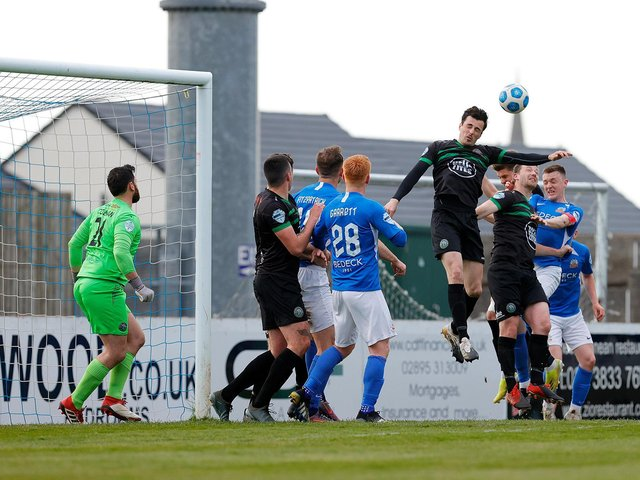 Danny Wallace in action for Warrenpoint Town against Glenavon