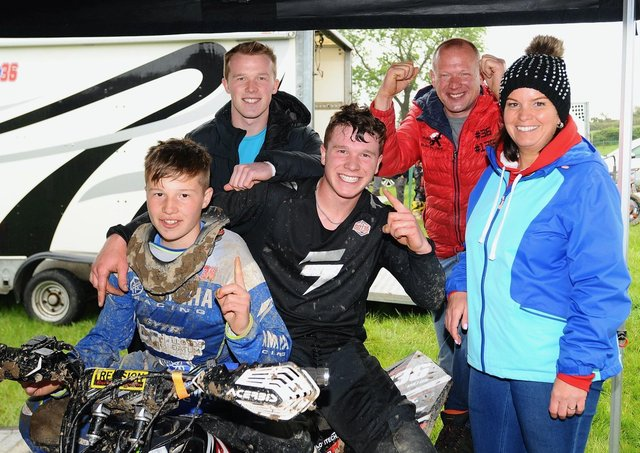 L/R Ross Dillon, Gary Dillon, Dean Dillon, Nigel Dillon and Leigh-Ann Dillon  pictured after Dean won his first premier quad race at Seaforde