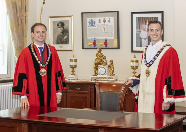 Outgoing Mid and East Antrim Deputy Mayor Cllr Andrew Wilson and Mayor Cllr Peter Johnston.