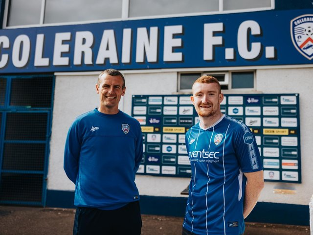 Oran Kearney welcomes Rodney Brown back to Coleraine.   PICTURE: DAVID CAVAN