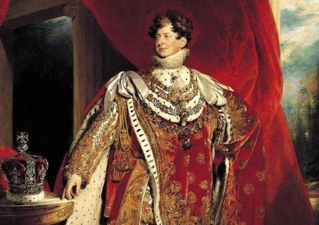 George IV depicted wearing coronation robes and four collars of chivalric orders: the Golden Fleece, Royal Guelphic, Bath and Garter. Picture: Royal Collection