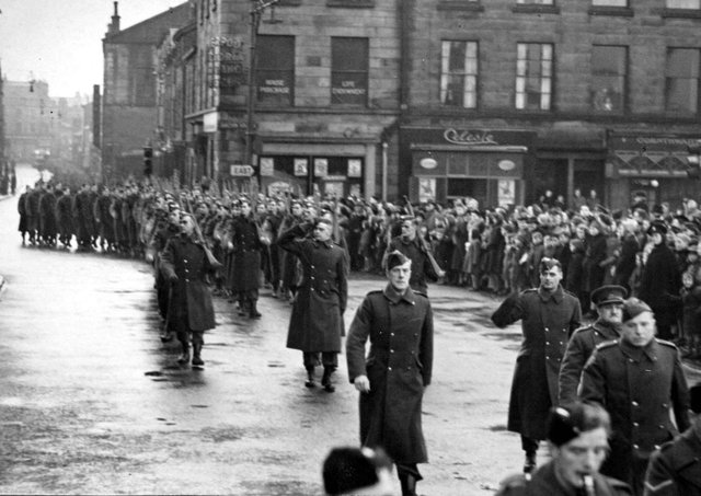 Members of Lancaster's Home Guard parade past the Town Hall in Dalton Square in 1944. Picture: JPIMedia Archives