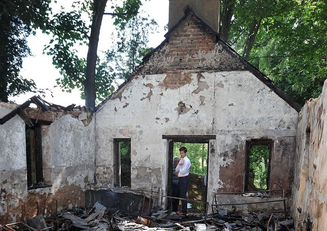 An Orange hall near Loughgall is burnt out in 2015. Since 1969 there have been over 600 attacks on Orange facilities
