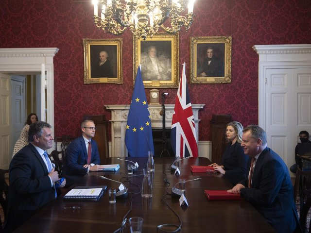 Brexit minister Lord Frost, flanked by Paymaster General Penny Mordaunt, sitting opposite European Commission vice president Maros Sefcovic, who is flanked by Principal Adviser, Service for the EU-UK Agreements (UKS) Richard Szostak, as he chairs the first EU-UK partnership council at Admiralty House in London.