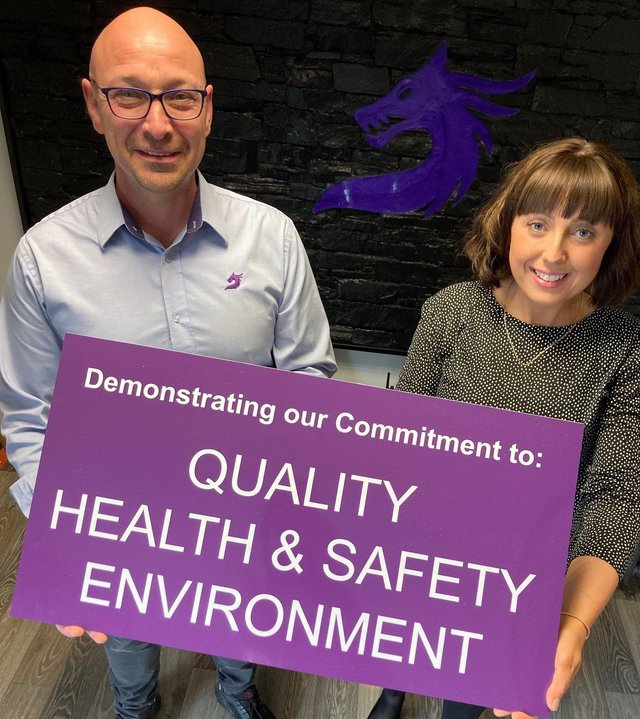 Jeff McMullan Managing Director of Antrim based company Jans Composites and Christine Clarke, Lead Design, Jans Composites celebrate the award of a hat trick of ISO certifications