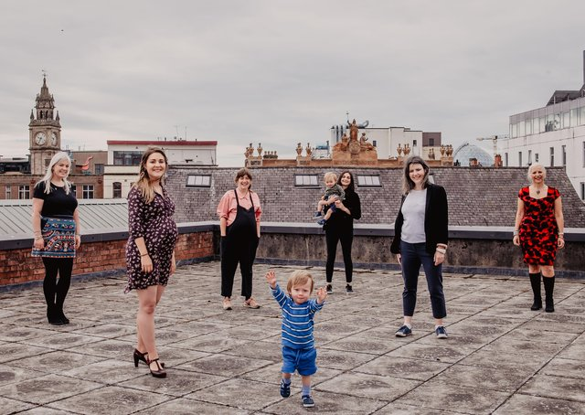 Mothers in Music participants Sinead McGarry, Aisling McCormick, Caroline Baker, Sidney Whittaker, Charlene Hegarty  (Talent Development Manager - Oh Yeah) and Wilfie Whittaker, Roisin Whyte and Marie-Thérèse Davis