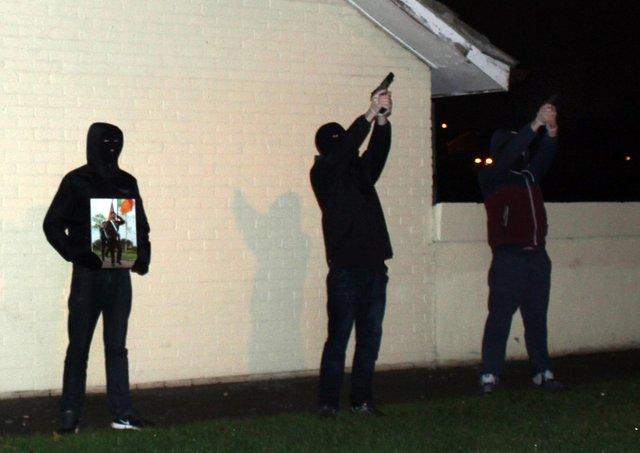INLA volunteers fire a volley of shots in south Londonderry in 2015