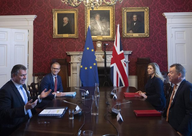 Brexit minister Lord Frost, flanked by Paymaster General Penny Mordaunt, sitting opposite European Commission vice president Maros Sefcovic, who is flanked by Principal Adviser, Service for the EU-UK Agreements (UKS) Richard Szostak, as he chairs the first EU-UK partnership council at Admiralty House in London. Picture date: Wednesday June 9, 2021.