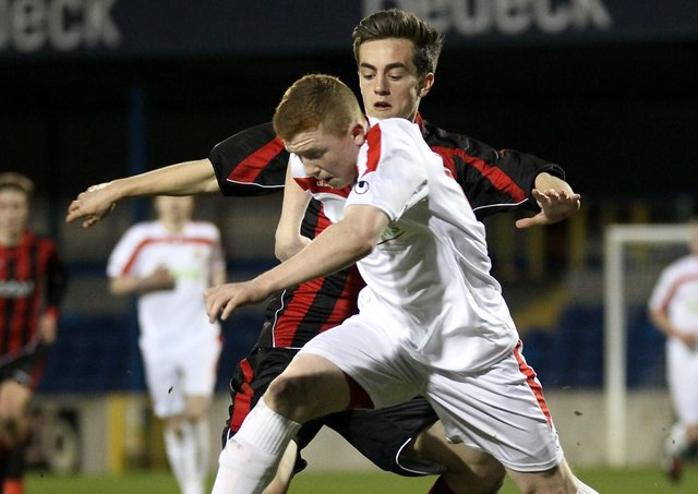 Shayne Lavery helping Portadown Thirds to trophy glory in 2014.